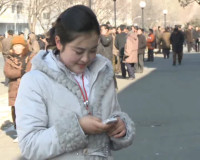 A cell phone user in Pyongyang