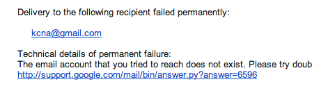 KCNA Gmail failure