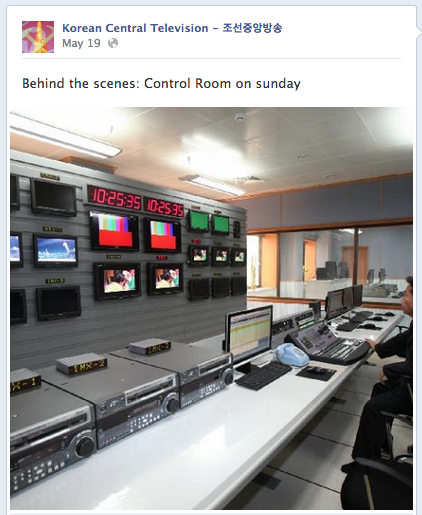 "In this May 19 Facebook posting, a site claiming to be Korean Central Television provides a ""behind the scenes"" look at the control room."