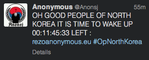 A Twitter message posted by an Anonymous member referring to a planned attack on North Korean websites.