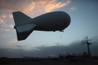 A blimp lifts off from its launch pad at Forward Operating Base Shank, Logar province, Afghanistan, on July 31. (File / US Army photo / Spc. Theodore Schmidt)