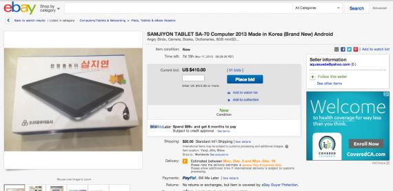 A Samjiyon tablet is advertised on Ebay on November 9, 2013.