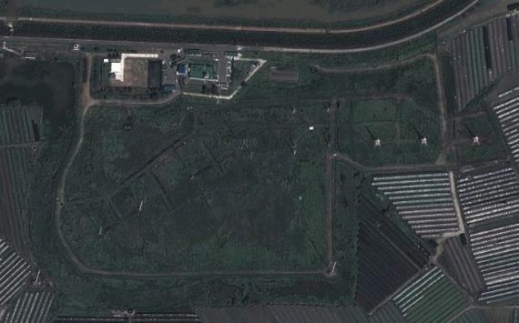 A satellite image of the transmitter site shown on Google Maps