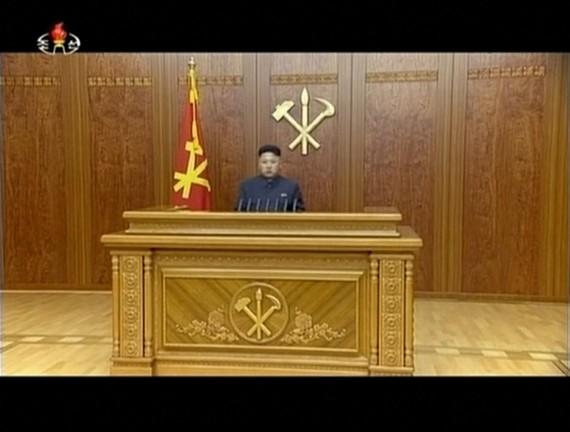 The medium shot of Kim Jong Un's 2014 new year address. (KCTV screengrab)