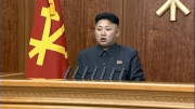 The close shot of Kim Jong Un's 2014 new year address. (KCTV screengrab)