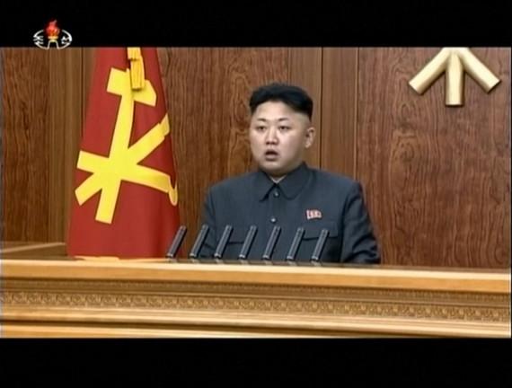 The close shot of Kim Jong Un's 2014 new year address. (KCTV screengrab)