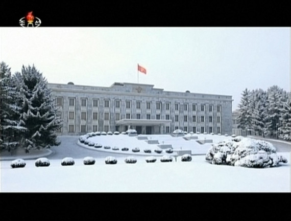 The Workers' Party of Korea Central Committee Headquarters as shown in Kim Jong Un's 2014 new year address (KCTV screengrab)