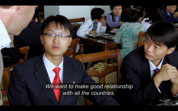 A Pyongyang University of Science and Technology is interviewed by BBC's Panorama