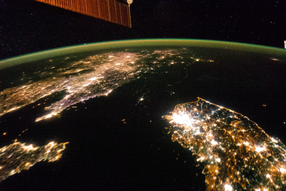 An image of the Korean Peninsula taken from the International Space Station on January 30, 2014, at 10:16pm local time.