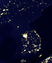 A 2007 image from NASA shows the Korean peninsula at night (NASA)