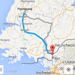 A route from Pyongyang to Panmnujon as shown on the Android Google Maps app. (NorthKoreaTech)