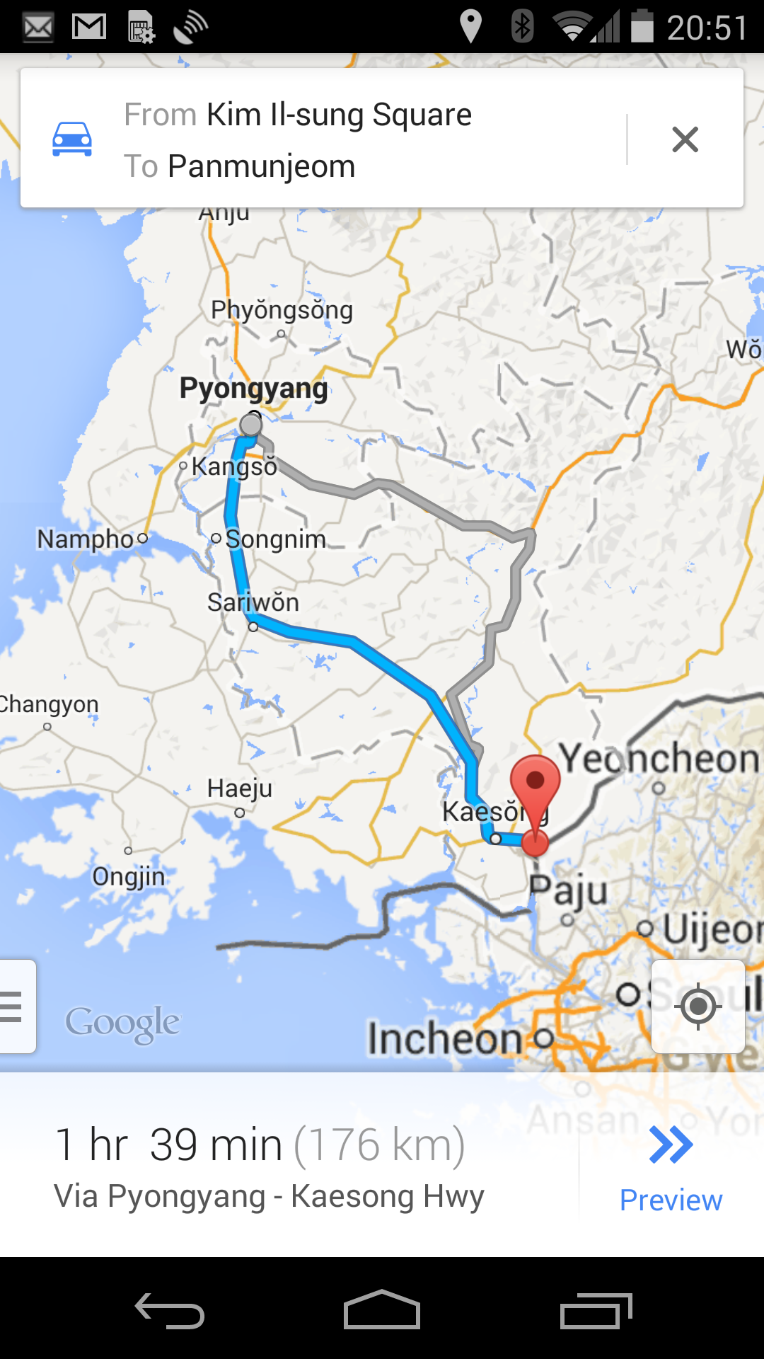 North Korea Driving Instructions Come To Google Maps - Nyc map app android