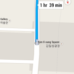 The start of a journey from Pyongyang to Panmnujon as shown on the Android Google Maps app. (NorthKoreaTech)