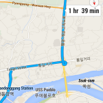 Detailed North Korean driving instructions shown on Google Maps' Android app (NorthKoreaTech)