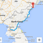 Driving instructions from Pyongyang to Rajin shown on Google Maps' Android app (NorthKoreaTech)