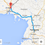 Driving instructions from Pyongyang to Sinuiju shown on Google Maps' Android app (NorthKoreaTech)