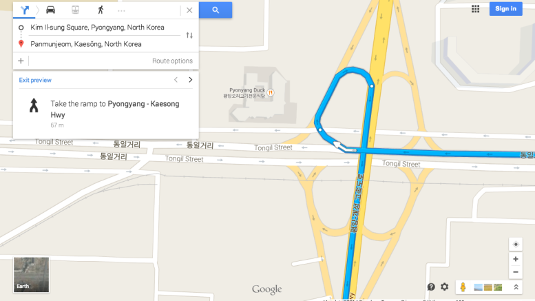 A Pyongyang highway interchange mapped by Google (NorthKoreaTech)