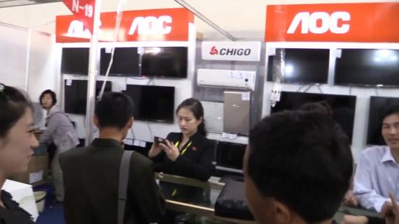 Flat-panel TVs from Taiwan's AOC on show at the Pyongyang Spring International Trade Fair 2014 (Photo: North Korea Tech/Aram Pan)