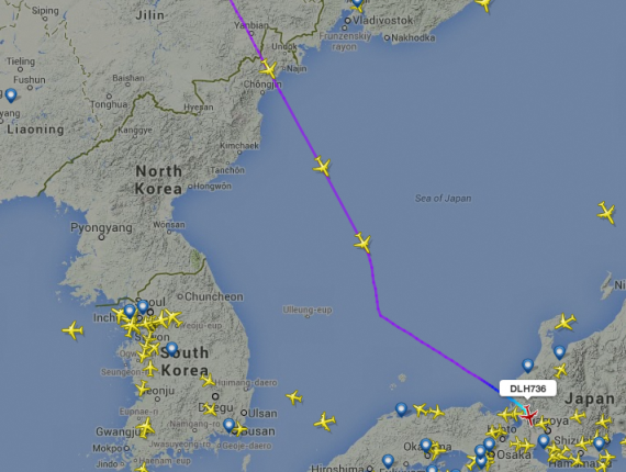 Lufthansa's LH736 is followed by three other aircraft through North Korean airspace on Saturday, July 26, 2014.