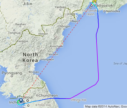 An Aeroflot flight from Vladivostok to Incheon avoids flying west of the 132 degrees East line