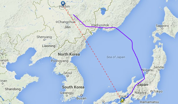 China Southern CZ 632 from Kansai to Harbin avoids North Korean airspace.