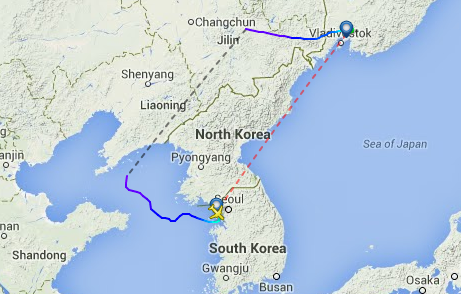 Asiana's OZ 570 avoids North Korean airspace en route to Vladivostok.