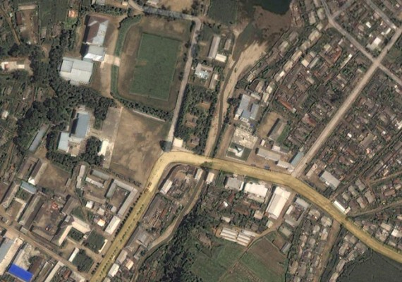 The town of Chasong, North Korea, as shown on Google Maps on August 29, 2014.