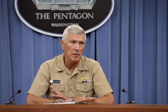 Adm. Samuel J. Locklear III, commander of the U.S. Pacific Command, answers questions from the press during a briefing in the Pentagon on July 29, 2014. (Photo: Glenn Fawcett/DOD)