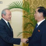 Naguib Sawiris meets DPRK Premier Pak Pong Ju at the Mansudae Assembly Hall in this October 13, 2014, image