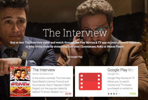 Sony's 'The Interview' became available on Google Play from 1800 UTC on December 24, 2014.