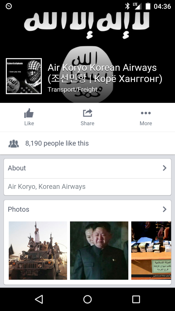 An Air Koryo Facebook page as it appeared on January 14, 2015