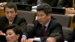 A North Korean diplomat speaks at a human rights event at the United Nations on April 30, 2015.