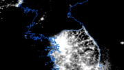A nighttime satellite image of the Korean peninsula taken in 2010