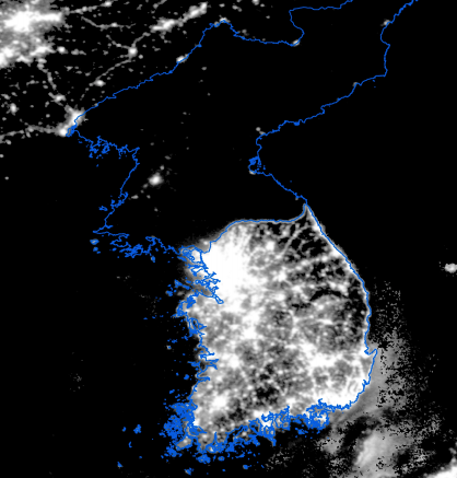 Image result for satellite photograph of north and south korea at night