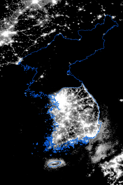 A nighttime satellite image of the Korean peninsula taken in 2010
