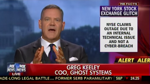 Gregory Keeley, COO of Ghost Systems, appears on Fox News Channel on July 8 to speak about a computer glitch that brought NYSE trading to a hald. (Photo: North Korea Tech)