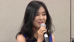 Lee Hyeonseo speaks at the Asian American Journalists Association in San Francisco on August 13, 2015.