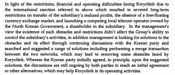 A portion of Orascom's financial report details problems in North Korea