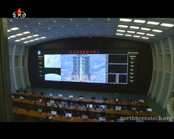 The launch of Kwangmyongsong 3-2 is displayed on a screen at the General Satellite Command Center in Pyongyang in this image broadcast on Korean Central Television on Feb. 11, 2016. (Photo: KCTV/North Korea Tech)