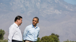 President Barack Obama and President Xi Jinping walk on the grounds of the Annenberg Retreat in Rancho Mirage, California, on June 8, 2013. (Photo: Pete Souza/White House)    This official White House photograph is being made available only for publication by news organizations and/or for personal use printing by the subject(s) of the photograph. The photograph may not be manipulated in any way and may not be used in commercial or political materials, advertisements, emails, products, promotions that in any way suggests approval or endorsement of the President, the First Family, or the White House.