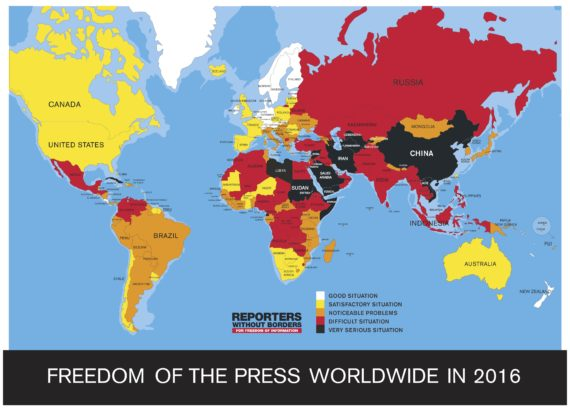 Reporters Without Borders' 2016 press freedom ranking