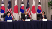 The leaders of South Korea, the U.S. and Japan speak after a meeting in Washington, D.C., on March 31, 2016.