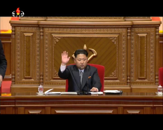 Kim Jong Un is seen in a Korean Central TV broadcast at the 7th Workers' Party Congress on May 6, 2016. (Photo: North Korea Tech/KCTV)