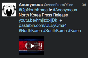 Anonymous Twitter message