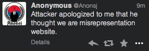 An Anonymous user tweets an apology was offered for an earlier attack.