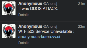An Anonymous hacker responds to an attack directed at his own site on June 25, 2013.