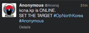 A Twitter message from an Anonymous member telling hackers to target the KCNA website.