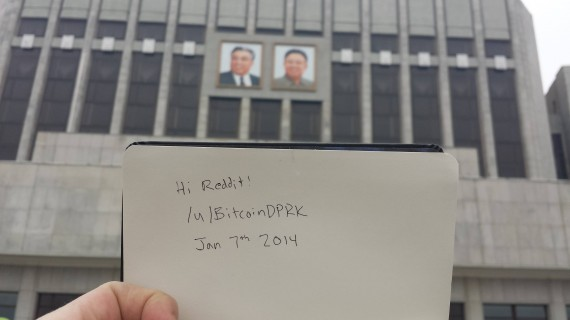 "An image posted to Reddit by user ""BitcoinDPRK"" from Pyongyang."