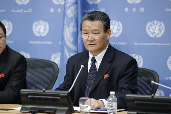 Sin Son-ho, DPRK Ambassador to the United Nations, speaks at a news conference on 24 January, 2014. (Paulo Filgueiras/UN)