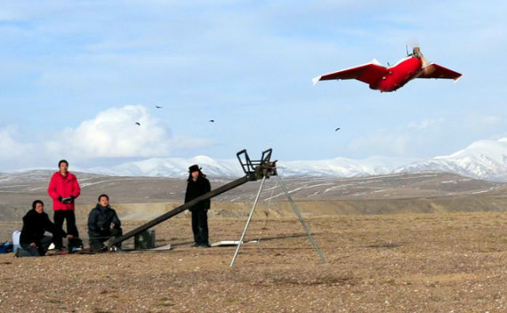 Launch of the Sky-09H drone on a slingshot system (Photo: China TranComm Technologies)